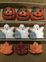 Halloween candles pumpkin, ghosts leaves 3 sets 9 candles