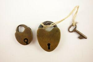 2 Antique Original Heart Shape Brass Locks One With Working Key