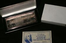 2004 $100 SILVER PROOF 4 TROY OZ .999 PURE SILVER BAR WASHINGTON MINT LOT 221053