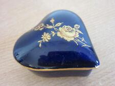 Vintage Limoges, France Porcelain Trinket box Cobalt Heart with roses