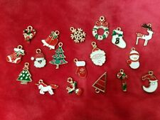 Lot of 18 Mix of Gold Tone/Enamel Christmas Charms - DYI Craft - Jewelry Charms