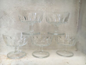 SET OF 5 FRENCH ARCOROC STEM FOOTED GLASS COUPE DISHES BOWLS INDIVIDUAL DESSERT