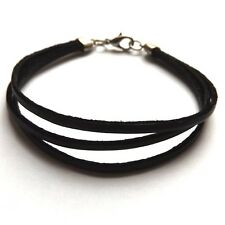 BLACK THREE STRAP BANDED LEATHER BRACELET STRAP WITH QUALITY CLASP  FASTENER