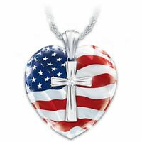 925 Silver White Topaz National Flag Gems Cross Pendant Choker Necklace Chain