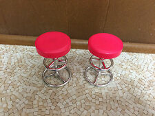 Barbie Doll House Home Restaurant Furniture Retro Red Glitter Chair Bar Stool