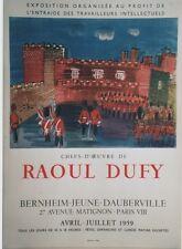 """""""CHEFS-D'OEUVRE de Raoul DUFY : St-JAMES"""" Affiche originale entoilée MOURLOT1959"""