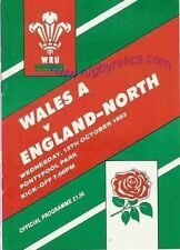 WALES A v NORTH OF ENGLAND 1993 RUGBY PROGRAMME