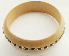 MYSTIQUE  7.5 in LIGHT BROWN CLEAR CRYSTAL SILVER PLATE WOOD BANGLE BRACELET NEW