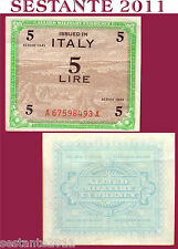 ITALIA ITALY  5 AM LIRE 1943 FLC, ALLIED MILITARY CURRENCY,  P M12a  QFDS / AUNC