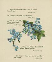 ANTIQUE A FRIEND STICKETH CLOSER THAN A BROTHER BLUE FORGET ME NOTS ART PRINT