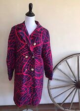 AQUASCUTUM London England Trench Coat Button Fuchsia Pink Navy Blue Lined Sz 5