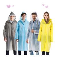 UK Waterproof Jacket Clear PVC Raincoat Rain Coat Hooded Poncho Rainwear Unisex