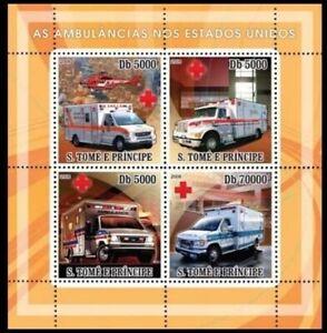Sao Tome 2008 MNH 4v SS, Ambulance, America, Red Cross, Helicopter, Medicine