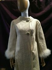 Vintage 1960s Ivory Embroidered Robe with Rhinestone Buttons, Marabout Feathers
