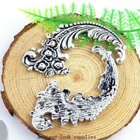 12pcs Antique Silver Alloy Flowers Charms Pendants Jewellery Findings 51380