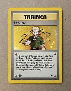 MINT 1st Edition Lt. Surge Trainer HOLO Gym Heroes Pokemon 17/132 PSA READY