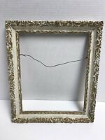 "Vintage Gold Carved Wood Picture Frame 12x10 Overall 14.5"" x 12"""