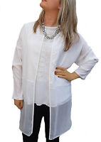 Ladies UK Plus Size 22-32 Ivory Blouse Tunic Cover-up Kimono Top