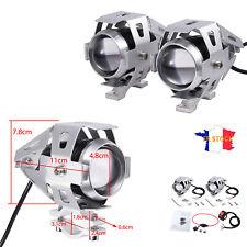 Argenté 2X 125W LED U5 Moto Phare Lumière Lampe Feux Avant + Commutateur