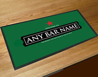 Personalised with your name Welcome Red star beer Label green bar runner Mat