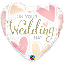"""18"""" JUST MARRIED ON YOUR WEDDING DAY PARTY FOIL HELIUM HEART BALLOON"""