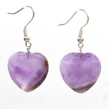 Natural Quartz Crystal Gemstone Heart Shape Faceted Stone Dangle Hook Earrings