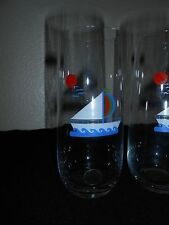 VTG DRINKING GLASS SAILBOATS 12 OZ TUMBLER NAUTICAL DECOR GERMANY NEW FREE