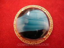 """Broche """"Néo Classique"""" N° 038 Cabochon Bleu Marbré - Bijoux Vintage Sphinx"""