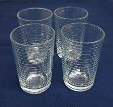 Vintage Pasabahce DORO 7oz JUICE GLASS Set of 4 Clear Horizonal Rings TURKEY