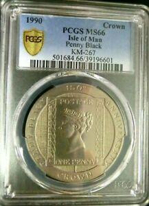 "1990 ISLE OF MAN Crown PCGS MS66 "" COMMEMORATIVE"" Penny Black Stamp @  KM#267"