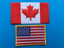 CANADIAN & USA FLAG EMBROIDERED PATCH COMBO SET - IRON-ON/SEW-ON - HI QUALITY!
