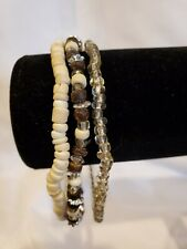 Bracelets, set of 3 beaded, elastic, simple, neutral tones, NEW