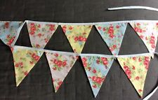 BUNTING FLORAL COTTON REVERSIBLE PINK BLUE YELLOW