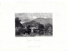 """Antiguo galés Impresiones - """"Pont y Par"""" - Radclyffe acero grabado (1872)"""