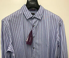 Paul Smith multi righe Camicia 40.6cm SLIM POLSINO SINGOLO MADE IN ITALY