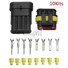 10 Kits 4 Pin Way Car Auto Waterproof Electrical Connector Plug Socket Wire Kit