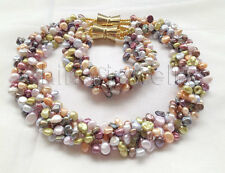 "P6016-18"" + 8"" 5row multicolor Reborn Keshi freshwater pearl necklace + bracelet"