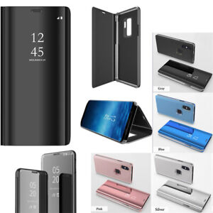 Samsung Galaxy Note8 Note9 Clear Smart View Mirror Leather Flip Stand Case Cover
