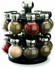 Kitchen Spice Rack Organizer Storage Holder 2 Tier Round Jars Revolves Revolving