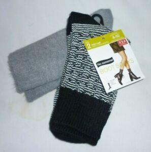 New Womens shoe sz 4-10 No nonsense Boot Socks 2 Pack  Gray Black