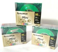 3-10-Packs  FujiFilm ARCHIVAL STORAGE Mini CD-R COLOR Disc & Case Set 210 MB 24x