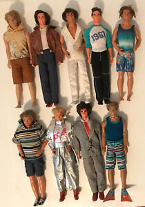 Mixed Vintage Barbie 9 Ken Dolls Lot And Clothes  1980's 1990s With Hair Mattel