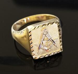 Men's 10K Yellow Gold Masonic Ring Square