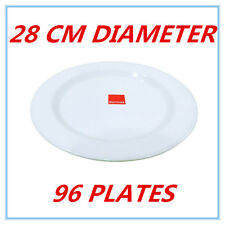 96 X LARGE GLOSSY WHITE MELAMINE ROUND PLATES PLATE PARTY FUNCTION EVENT FD