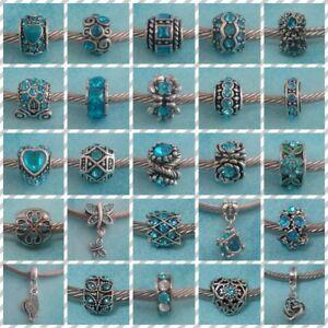 ❤ Tibetan Silver & Turquoise Colour Rhinestone Charms ❤ FOR CHARM BRACELETS ❤