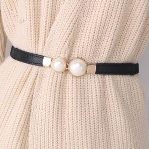 2021 Women's Double Pearl Belt PU Dress Waist Elastic Thin Waistband