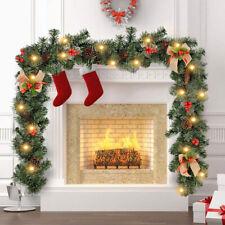 6FT Pre Lit Christmas Garland with Lights Door Wreath Xmas Fireplace DIY Decor