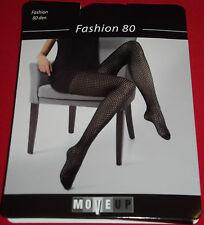 Fashion 80 - Strumpfhose / Feinstrumpfhose Loch Design - Gr: 42-44 M - Schwarz
