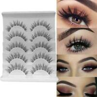 5Pair 3D Mink False Eyelashes Wispy Cross Long Thick Lashes Soft Fake NEW S2S3