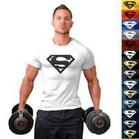 2018 Summer Men Supermen Muscle Sport Bodybuilding Fittness Cotton T-shirt Tee